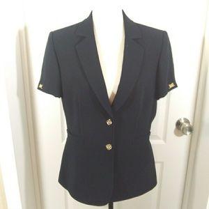 Tahari Arthur Levine Navy Short Sleeve Blazer